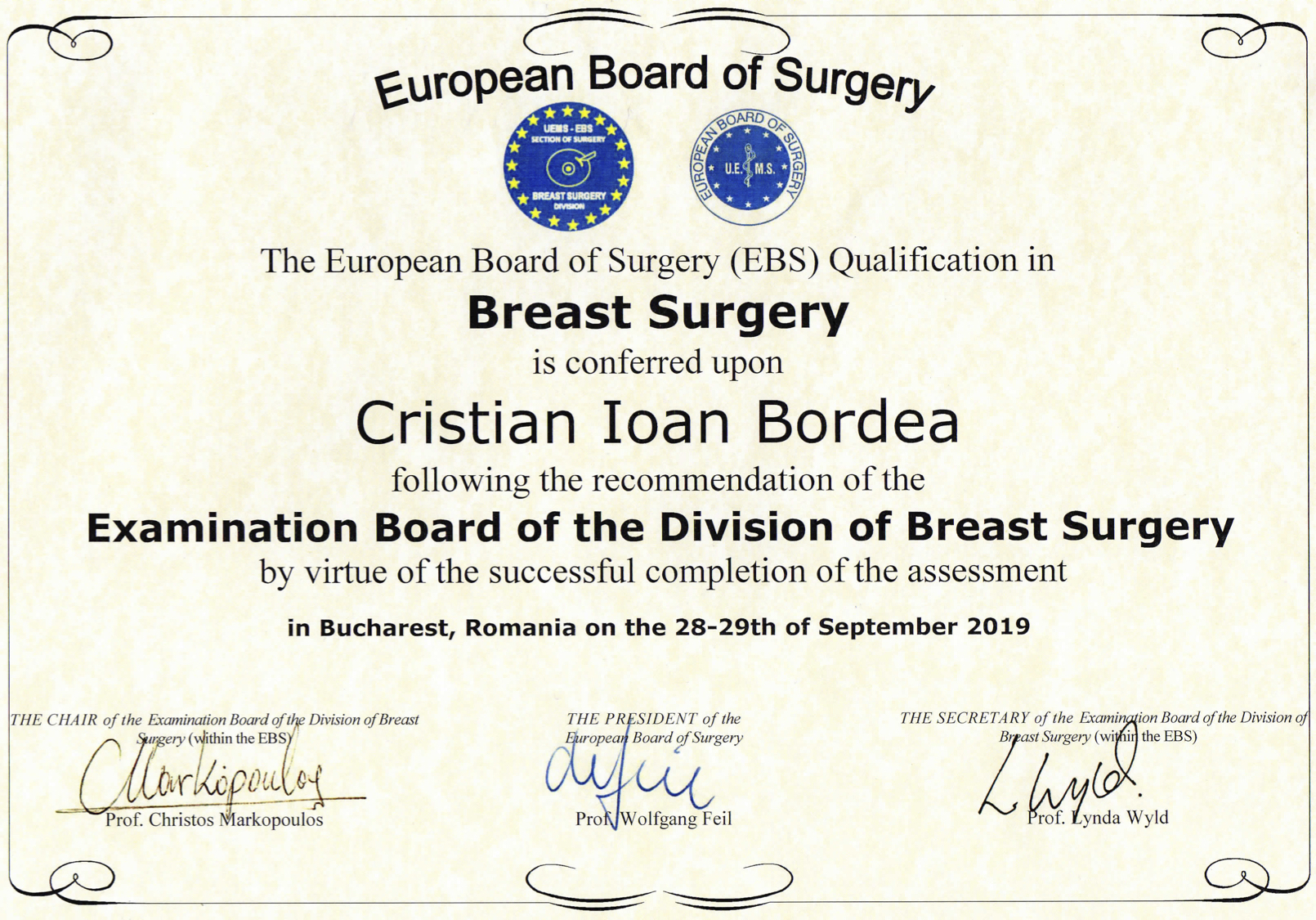 Dr. Cristian Ioan Bordea - Diploma ESSO Breast Surgery 09 2019