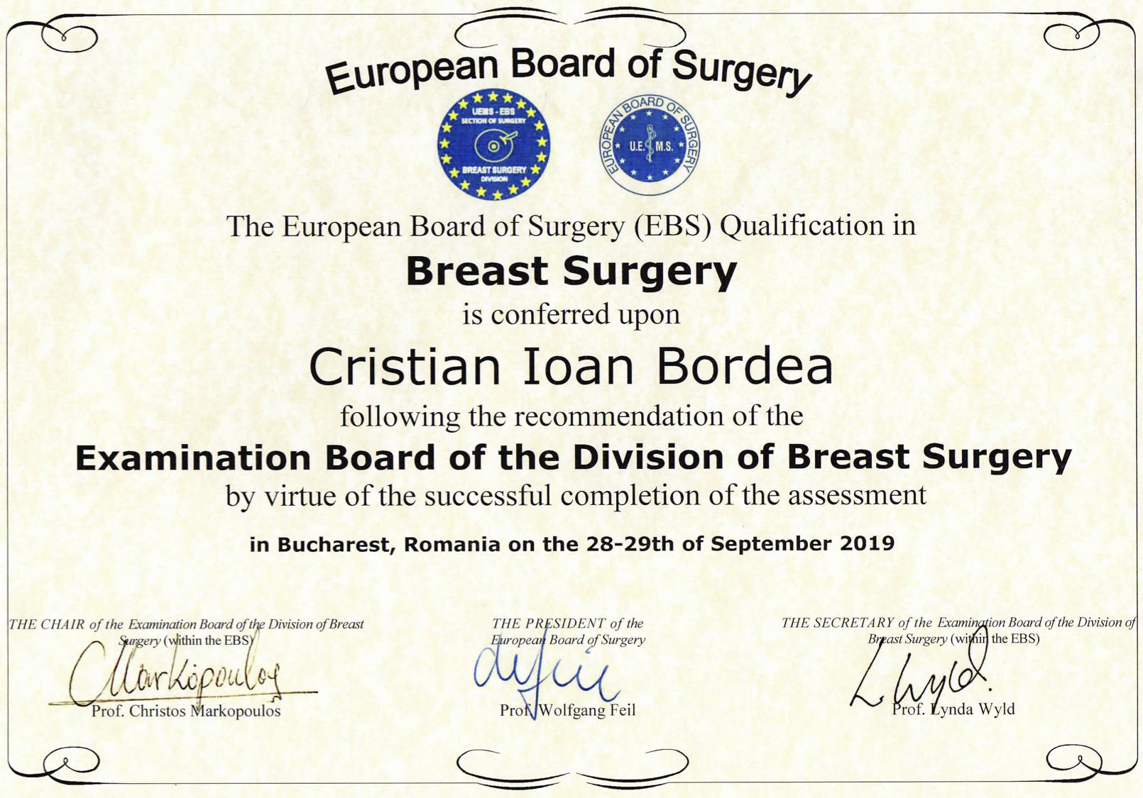 Dr. Cristian Ioan Bordea - Diploma ESSO Breast Surgery 09 2019